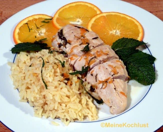 Huhn mit Orangen und Minze