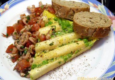 Tortilla mit Erbsen, Spargel und Nordsee-Krabben1