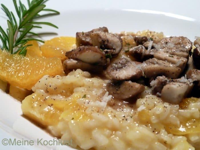 Würziges Orangen-Risotto mit Champignons