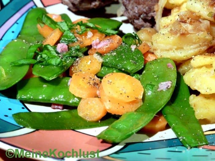 Zuckerschoten-Möhren-Gemüse