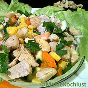 putenbrust salat mit mais turkey breast salad with corn. Black Bedroom Furniture Sets. Home Design Ideas
