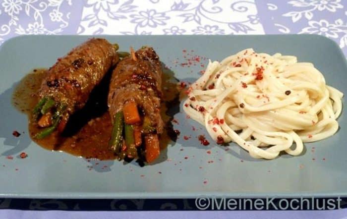 Rinder-Rouladen mit Bohnen