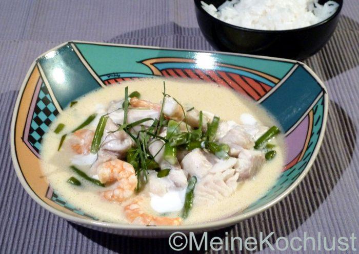 Fischcurry mit Bohnen